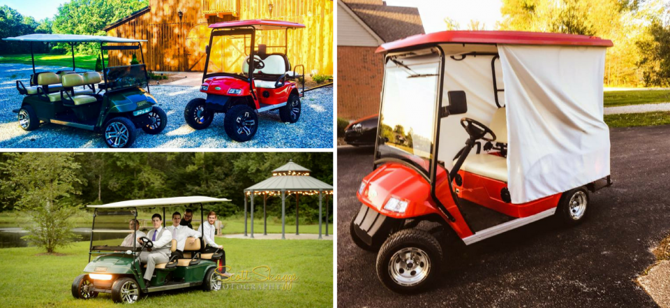 We have a 4-seater and 6-seater golf carts for you and your wedding party to use for your wedding!